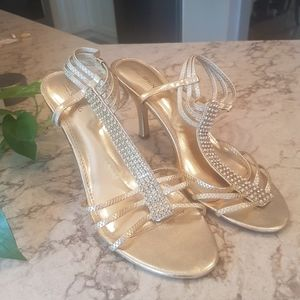 Call It Spring Gold Formal Heels Rhinestones